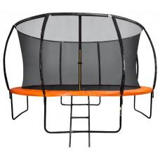 Батут DFC KENGOO II 14ft внутренней сеткой и лестницей оранжевый черный 427см два короба
