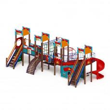 Детский игровой комплекс Скиф Замок (голубой) (винтовой скат) горка Н 1500 горка Н 2000