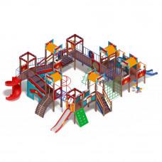 Детский игровой комплекс Скиф Замок (голубой) (винтовой скат) горка Н 900 горка Н 1200 горка Н 2000