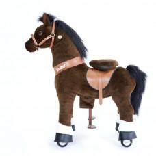 Механическая лошадка PonyCycle малая Лошадка темно коричневая озвученная