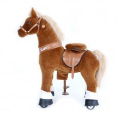 Механическая лошадка PonyCycle малая Лошадка коричневая озвученная