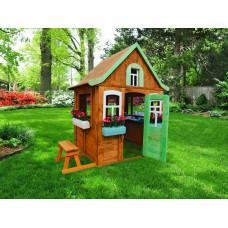Детский деревянный домик Можга Цветочный c кухней и цветочницами