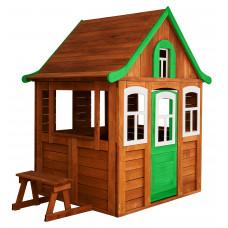 Детский деревянный домик Можга Цветочный цвет зеленый