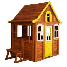 Детский деревянный домик Можга Цветочный цвет желтый