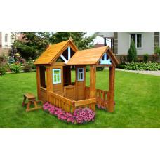 Детский деревянный домик Можга Солнечный с верандой