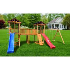 Детский игровой комплекс Можга СГ6-Р912-Р922-Тент Спортивный  городок 6 с качелями и узким скалодромом