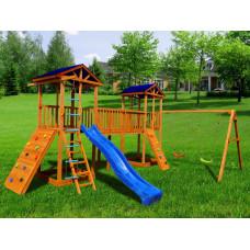 Детский игровой комплекс Можга СГ7-Р912-Р923-Тент Спортивный  городок 7 с качелями и широким скалодромом