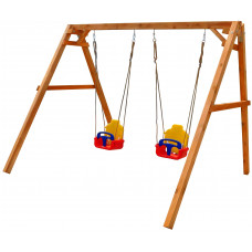Детские качели деревянные Можга P911-2 с 2-мя качелями со спинкой