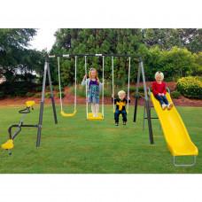 Детские уличные качели балансир тройные с горкой DFC 74560